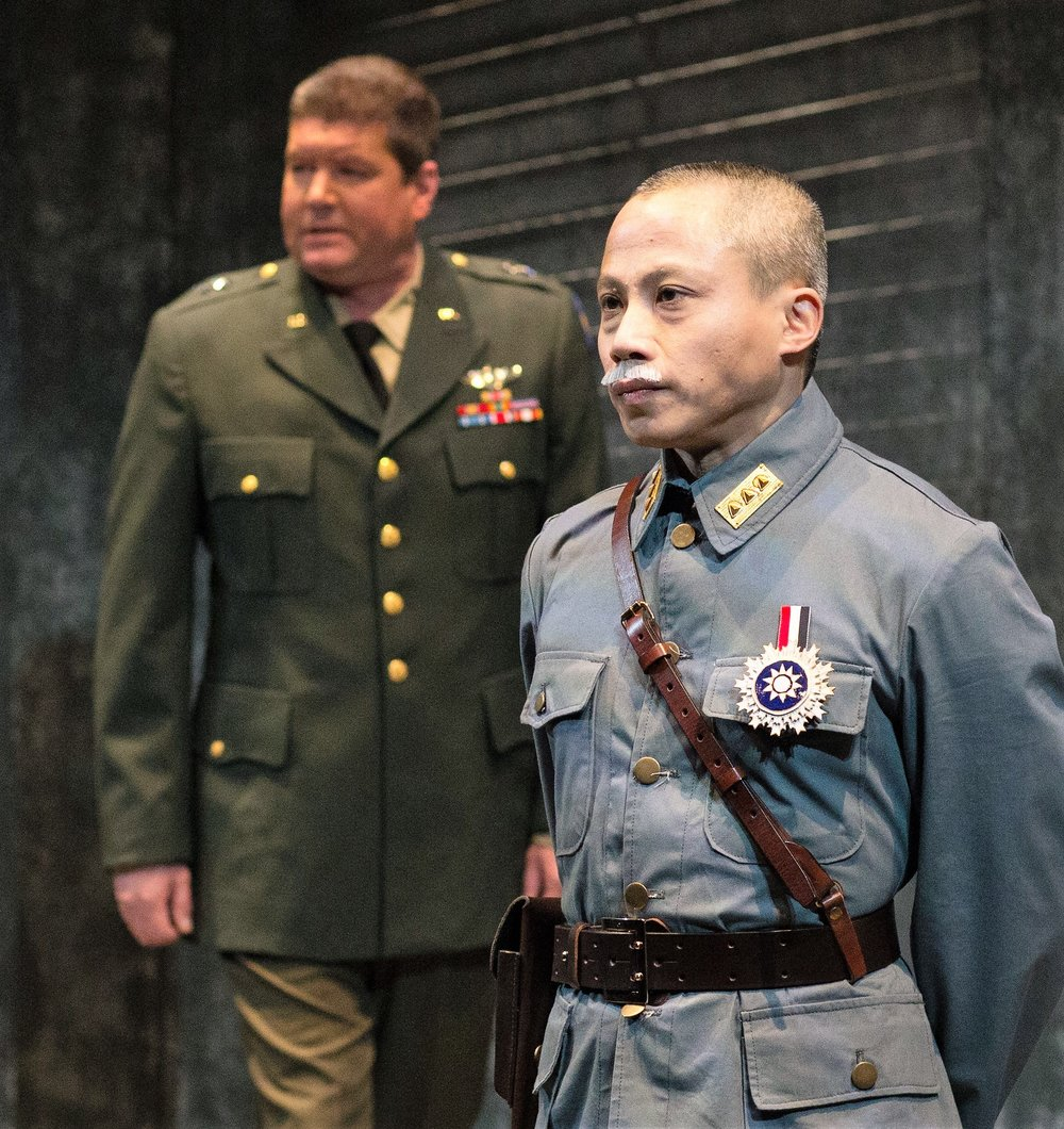 Dinh James Doan (foreground) as Chiang Kai-shek and Jonathan Miles as Van Holt. Top: Ying Ying Li as Ava and Tim Liu as Walter in Incident at Hidden Temple. Photos by Jonathan Quincy.