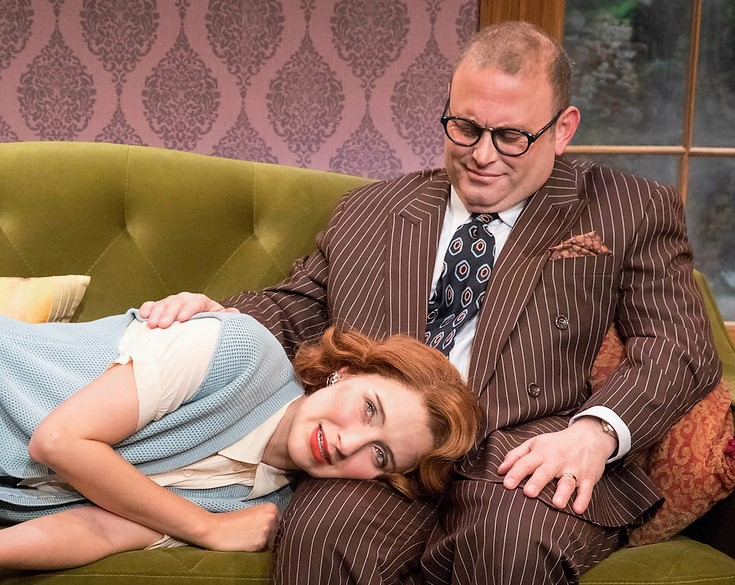 Elisabeth Gray plays Anne, and Todd Cerveris is family friend Alan, in Yours Unfaithfully. Top: Gray with Max von Essen as her husband, Stephen.