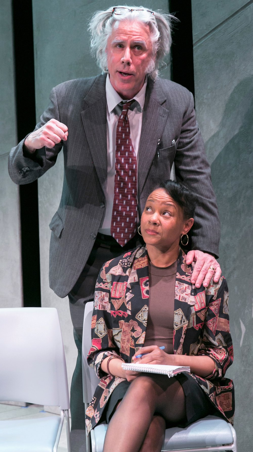 Above and top: Jeff McCarthy plays famed lawyer William Kunstler, and Nambi E. Kelley is his handler Kerry at a university speaking engagement in Jeffrey Sweet's Kunstler. Photos by Heidi Bohnenkamp.