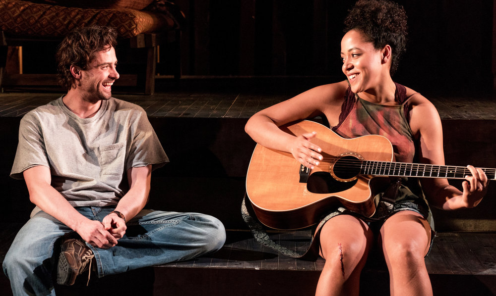 JD Taylor (left) as Carver and Lilli Cooper as Ray reconnect with the music in Rachel Bonds' moving Sundown, Yellow Moon. Top: A jam session with, from left: Anne L. Nathan as Jean, Cooper, Michael Pemberton as Bobby, and Peter Friedman as Tom.