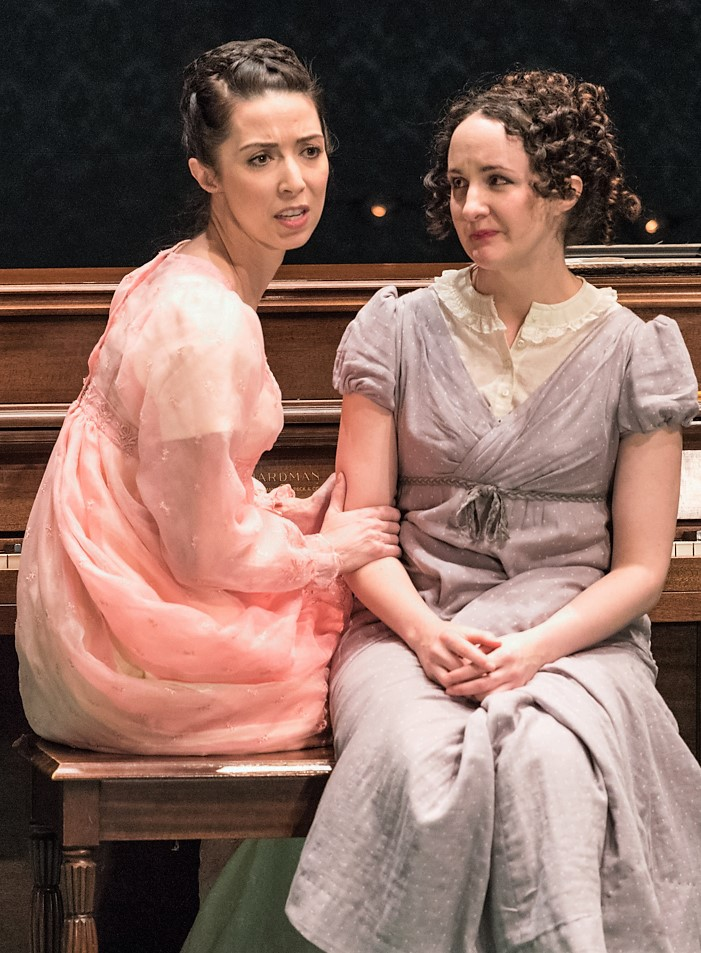 Joey Parsons (left) as Amelia Sedley and Kate Hamill as Becky Sharp in  Vanity Fair . Top: Hamill with Tom O'Keefe as Rawdon Crawley. Photos by Russ Rowland.