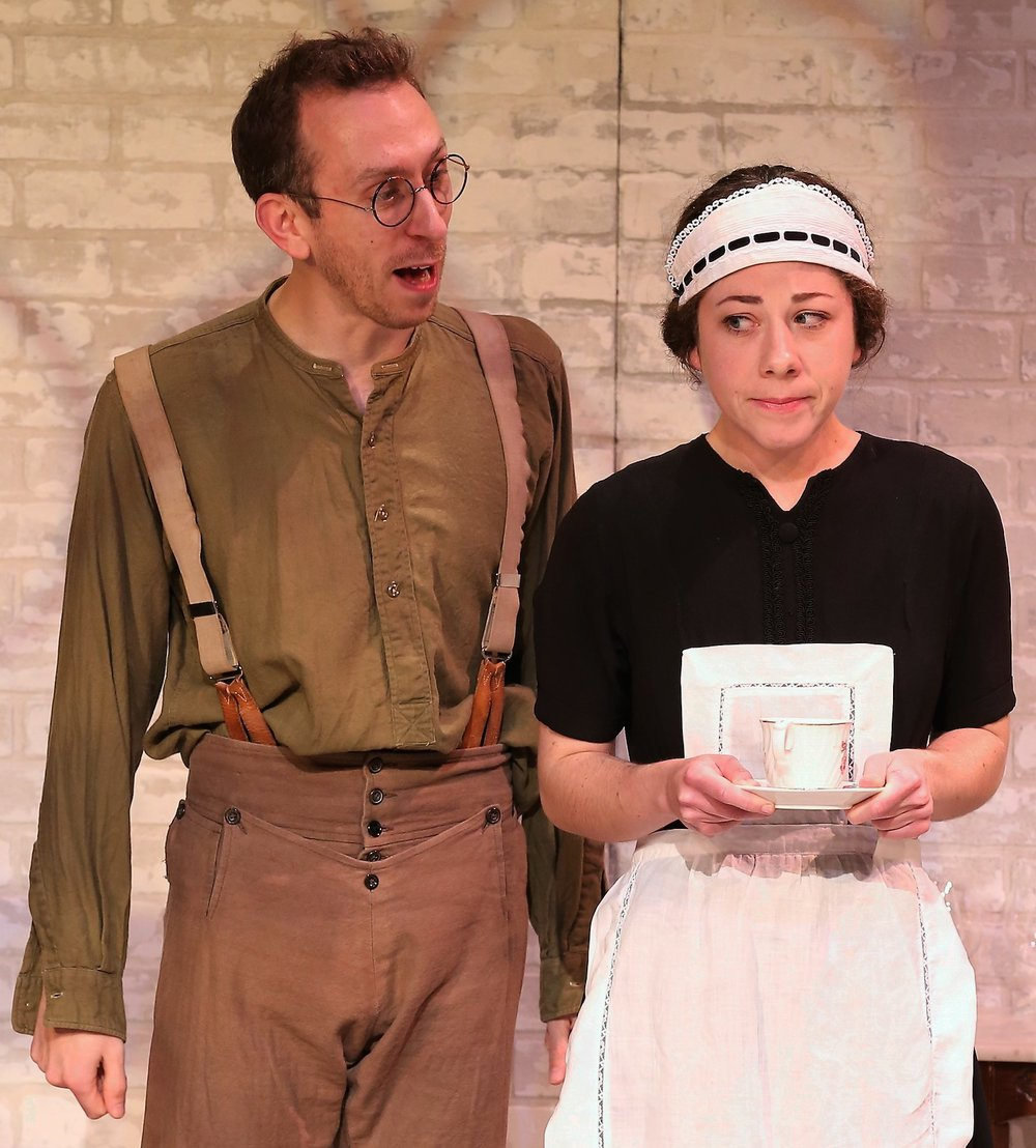 Steven Blakeley (left) is Comrade Staggles, and Annie Jackson is the maid Alice. Photographs by Carol Rosegg.