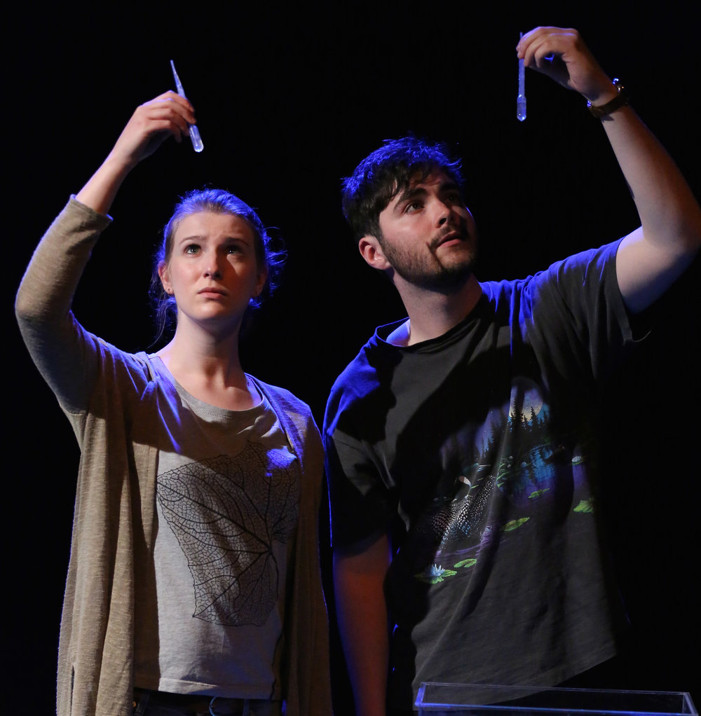 Vanessa (Helen Vinten) and Dominic (Adam Farrell) in Bucket Club's  Fossils . Top: Farrell and Luke Murphy build the play's expressive soundscape.