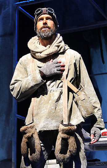 Wade McCollum as a playfully earnest Shackleton. Top: McCollum and Val Vigoda climb every mountain.