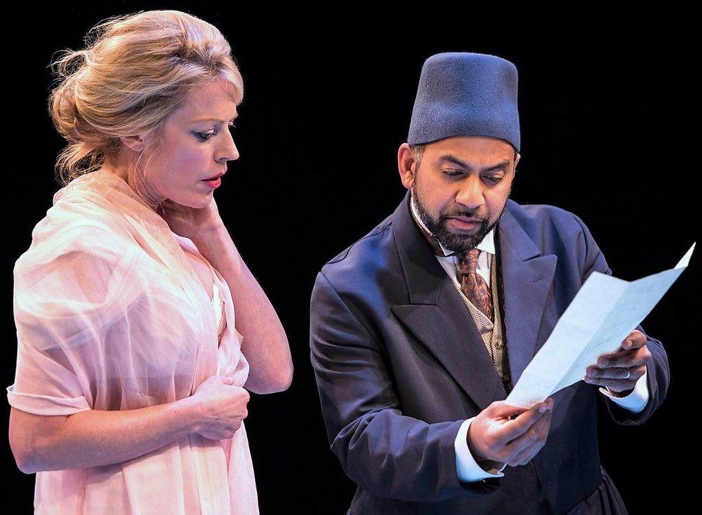 Sherie Rene Scott (left) is Gertrude, and Ajay Naidu is Polonius in  Hamlet .