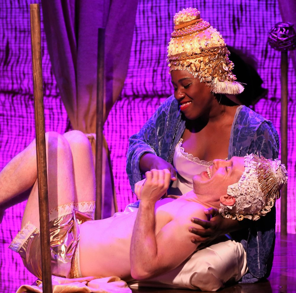 Crystal Lucas-Perry is Lady Bellaston and Matthew McGloin is Lord Fellamar in the cell's production of Bastard Jones, a musicalization of Henry Fielding's 18th-century novel, Tom Jones. Top: Evan Ruggiero (left) is Tom Jones, and Rene Ruiz is Partridge.