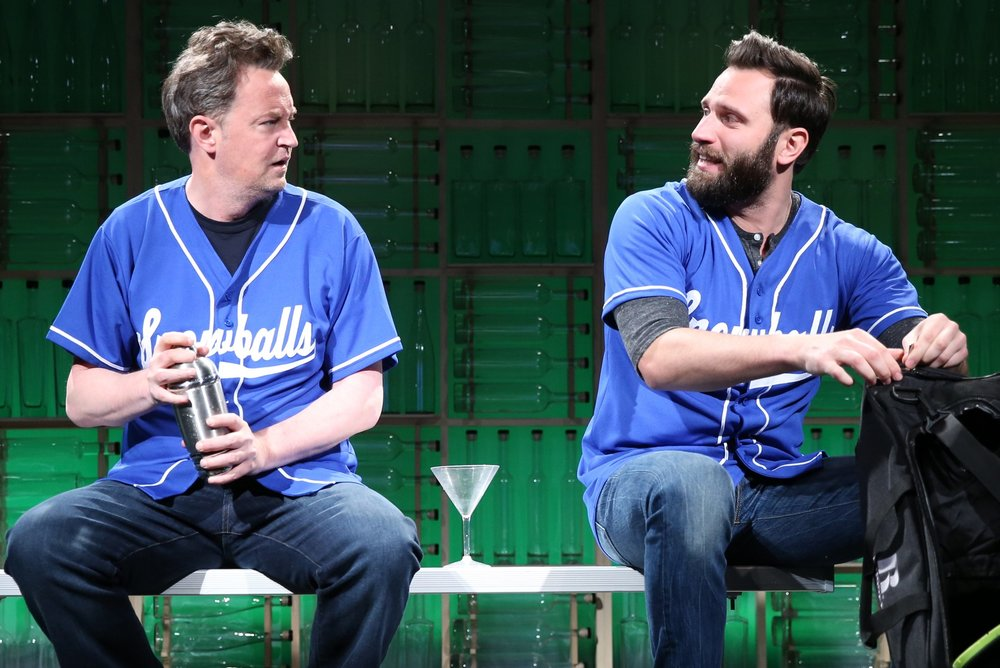 Matthew Perry (left) is Jack and Quincy Dunn-Baker is his friend Jeff in Perry's play The End of Longing. Top: Perry with Jennifer Morrison as Stephanie.