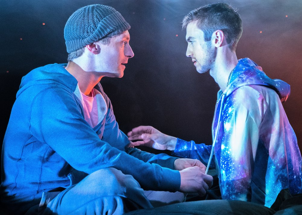 Brandon Haagenson (left) is Josh and Patrick Reilly is Darius in S. Asher Gelman's Afterglow. Top: Haagenson (right) with Robbie Simpson as Alex.