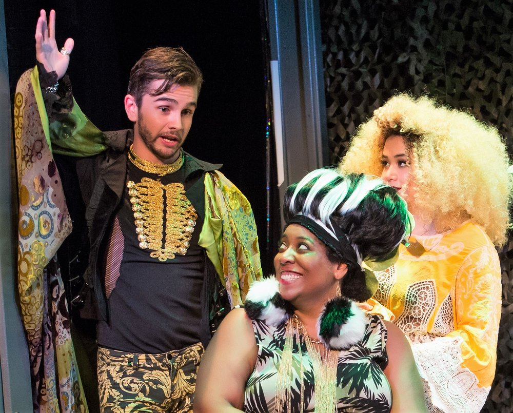 Crankee (Connor Delves), the Rockin' Crocodile, Bam-Boo (Dana Scurlock), a giant panda, and G-Low (Nicolette Shin), a golden tamarin monkey in Keni Fine and Tony Small's  Endangered: The Musical . Top, from left: Crankee (Delves), Levi (Theo Errig), Einstein (Nate Rocke), a whooping crane, and Bam-Boo (Scurlock). Photos by Jeremy Daniels.