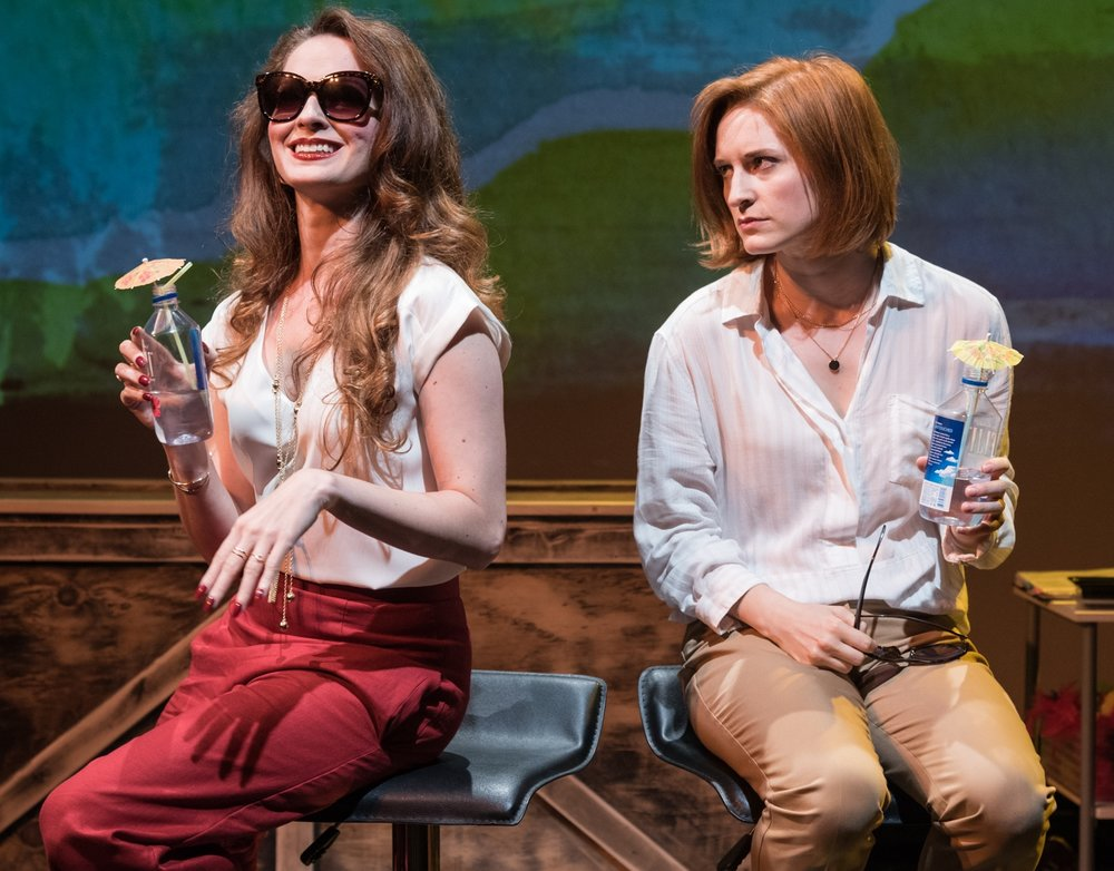 Amanda Rose as Jane and Jenny Peirsol as Julie sipping cocktails. Photo by J.jpg
