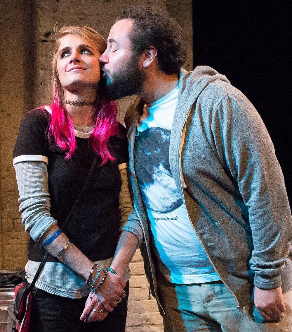 Lacy Allen (left) is Erica, and Maki Borden plays a longtime friend who has a crush on her, in Nick Robideau's  Inanimate . Top: Allen with the spirits of objects she adores (from left: Michael Oloyede, Nancy Tatiana Quintana and Artem Kreimer).