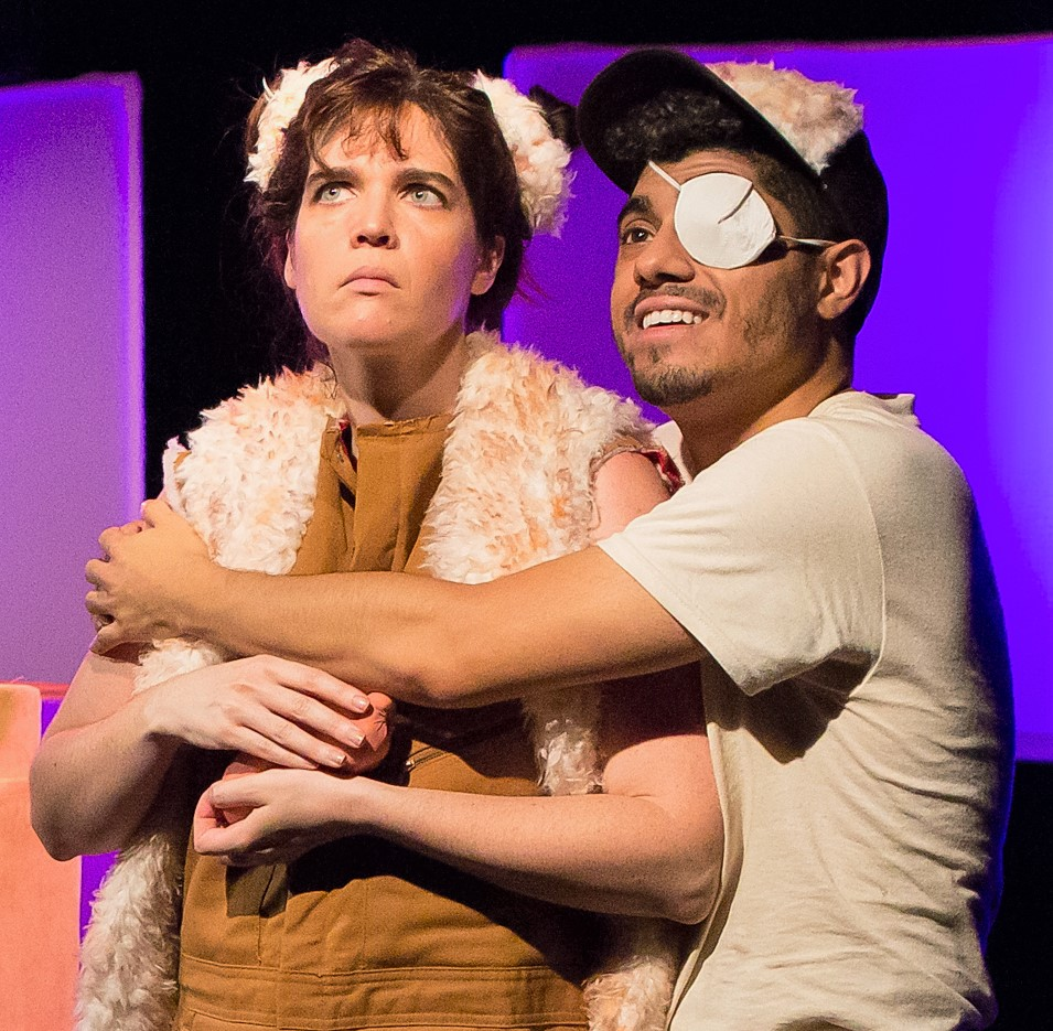 Lea McKenna-Garcia (left) is Tyson and Fernando Gonzalez is Jason in Dan Giles's comedy  Breeders  at the Access Theater. Top: Alton Alburo (left) is Mikey and Jacob Perkins is Dean, the keepers of the hamsters.