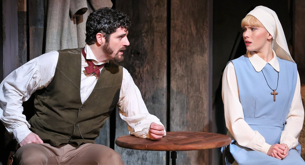 Degerstedt (right) with Peter Saide as Sheriff Martin Green. Photographs by Carol Rosegg.