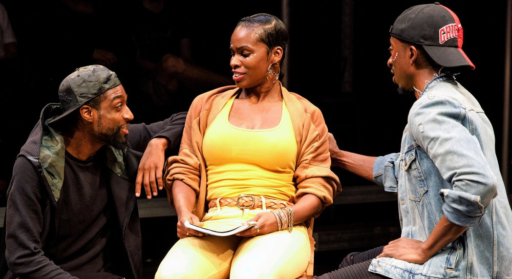 Nuri Hazzard (left) as Jamal and Elisha Lawson (right) as IceCold flirt with Mona Lisa (McKenzie Frye), the new girl at Langston Hughes High School.