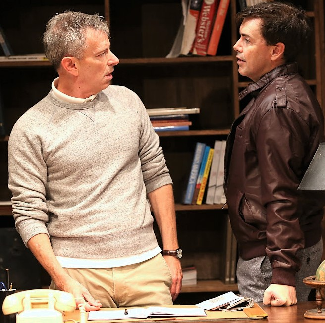 Above and top: Arnie Burton (left) as Jody and Matt McGrath as Carl in  Lonely Planet  Photographs by Carol Rosegg.