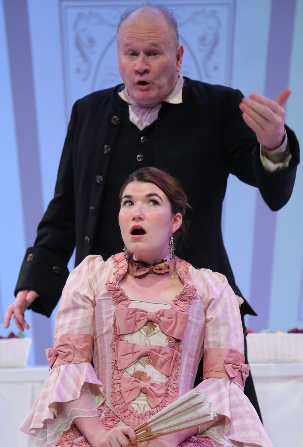 John  Lenartz is Orgon, and Alicia Marie Beatty is his daughter, Mariane, in  Tartuffe , at the Wild Project. Top: Josh Tyson as Tartuffe prepares to have his way with Elise Stone as Elmire, as Orgon looks on.
