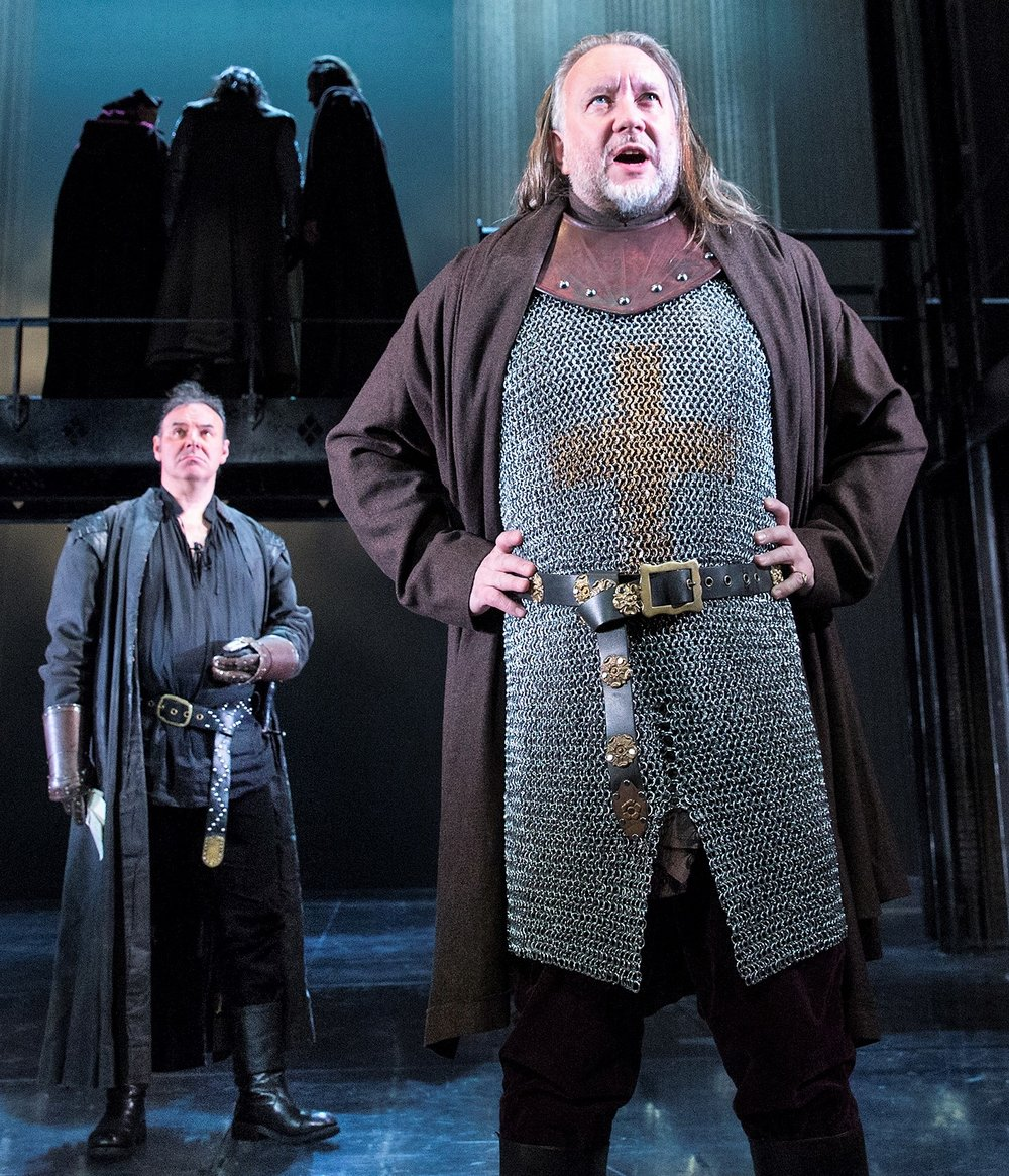 Britton (right) with Sean Chapman as Northumberland. Photographs by Richard Termine.