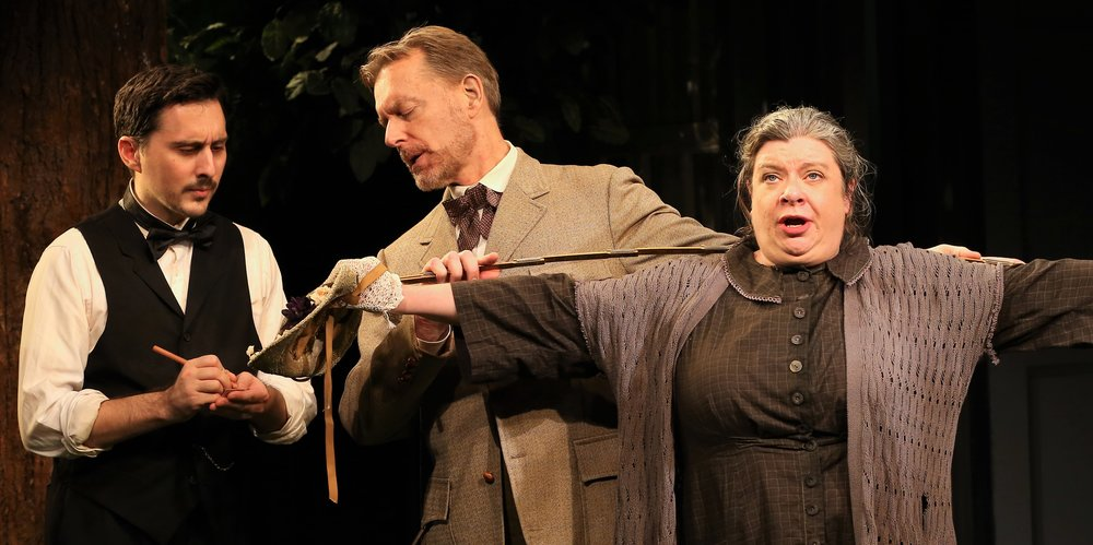 From left: Stephen Pilkington as Perkins, Christopher Randolph as Dr. Richard Gore, and Polly McKie as Mary. Photos by Carol Rosegg.