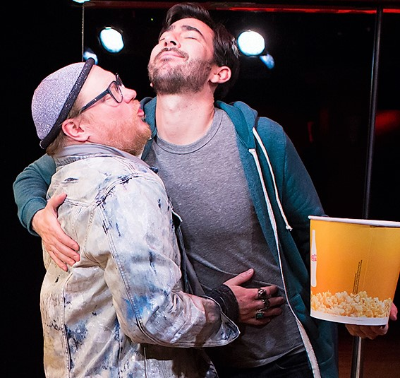Molnar (left) plays several characters, including Steve, a former flame from Max's previous life. Photographs by Jeremy Daniel.