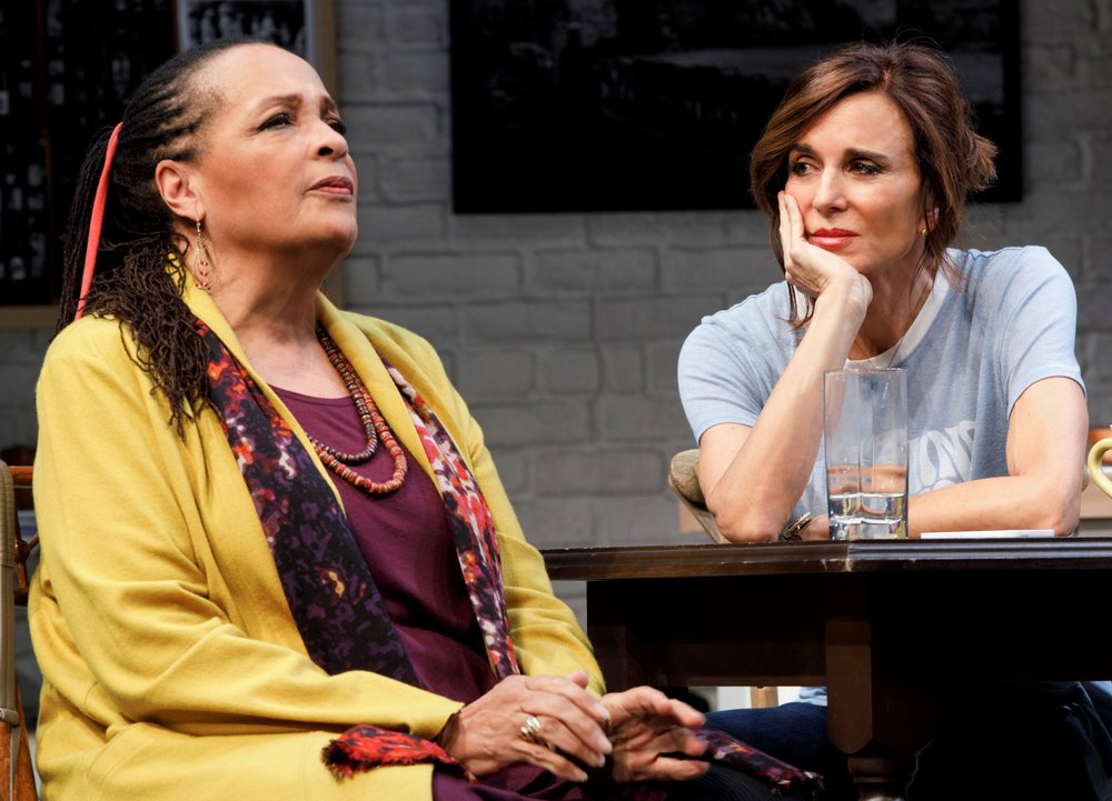 Franchelle Stewart Dorn (left) is Mac and Polly Draper is Danny in Susan Miller's  20th Century Blues . Top (left to right): Draper, Kathryn Grody as Gabby, Dorn, and Ellen Parker as Sil.