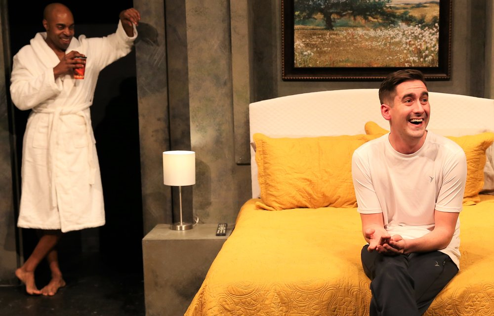 Thomas (left) with Spencer Sickmann in  Hate Crime  by Neil LaBute.