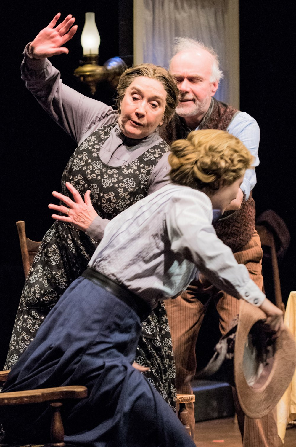 A Hawthorn family fracas, with Shipley, Brinkley, and paterfamilias Chris Hawthorn (Ken Marks). Photographs by Todd Cerveris.