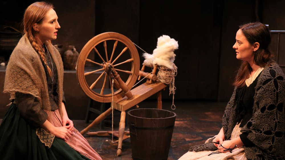 Clare O'Malley (left) is Nora and Jennifer McVey is her sister Cathleen in John Millington Synge's  Riders to the Sea , one of three short plays at the Irish Repertory Theatre. Top: Colin Lane (left) as the sergeant and Adam Petherbridge as a vagabond traveler in Lady Gregory's  The Rising of the Moon .