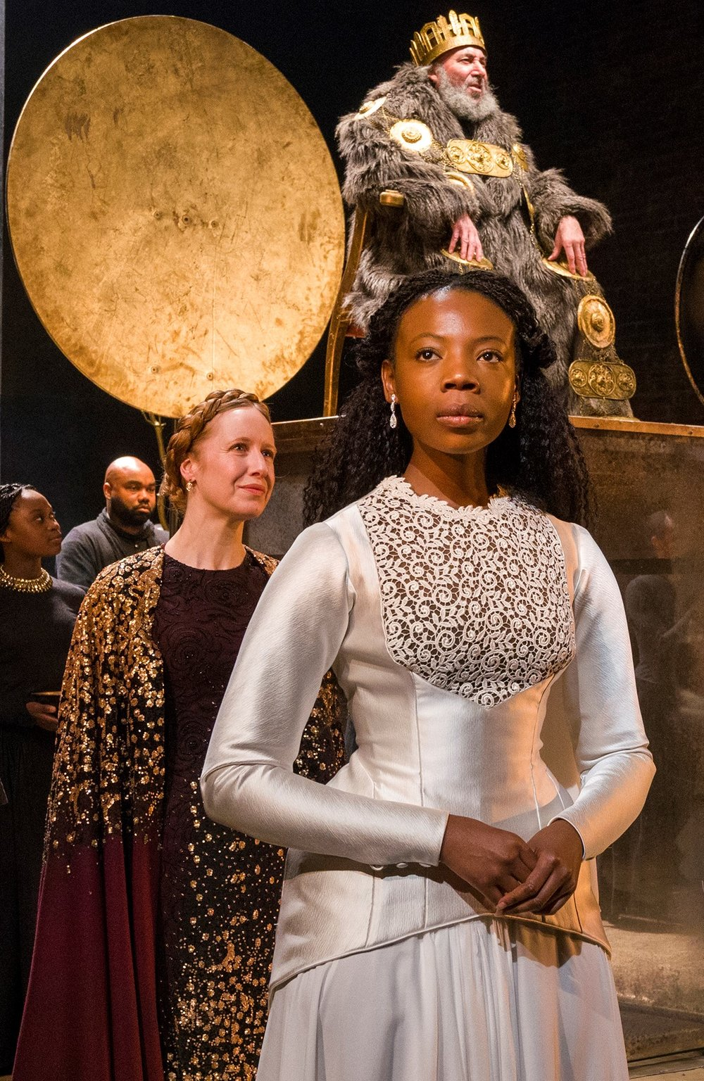 Goneril and Lear with Mimi Ndiweni as Cordelia (center). Photographs by Richard Termine.