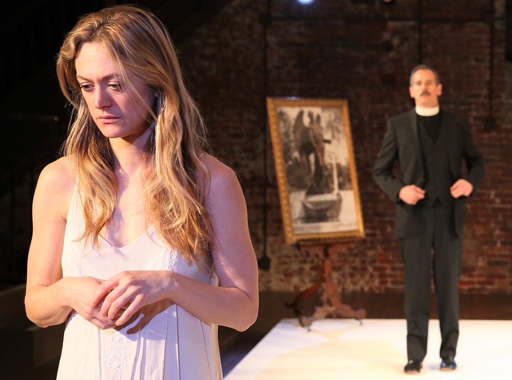 Marin Ireland (left) as Alma and T. Ryder Smith as the Rev. Mr. Winemiller. Top: Ireland with Nathan Darrow as John Buchanan, Jr. Photographs by Carole Rosegg.