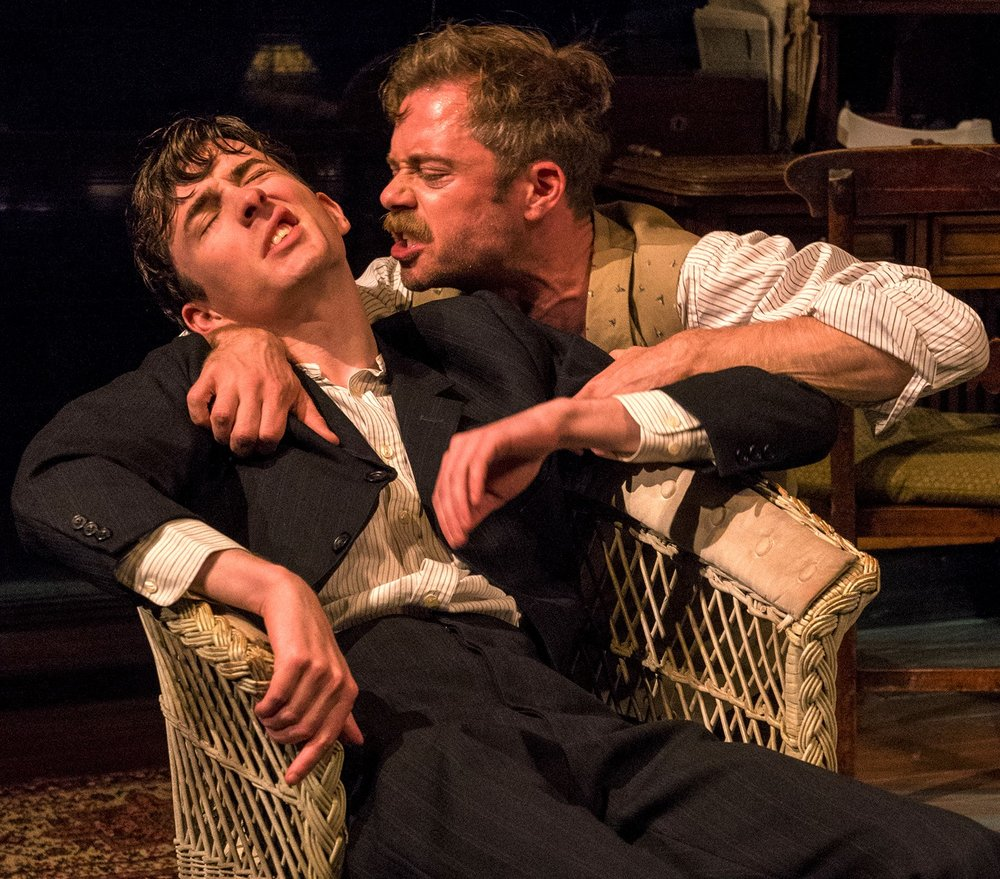Matthew Beard (left) plays the sickly Edmund Tyrone, and Rory Keenan is his older brother Jamie, in Eugene O'Neill's  Long Day's Journey Into Night . Top: Jeremy Irons as James Tyrone with Lesley Manville as his wife, Mary.