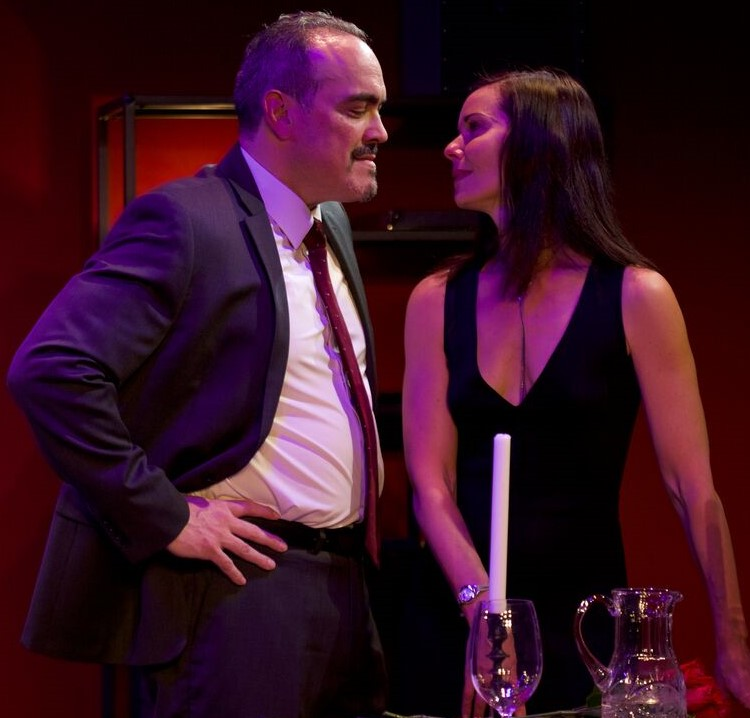 David Zayas (left) plays Sal, and Florencia Lozano is Delia in Maggie Diaz Bofill's  Devil of Choice.  Top: Lozano with Elizabeth Canavan as Pepper and (in the background) Melisa McGregor as the onstage violinist.