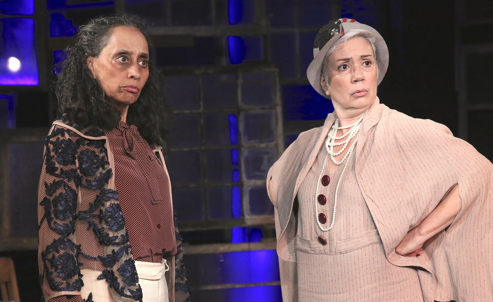 Marie Louise Guinier as Lorena (left) and Elise Santora as Eleanor in Christina Quintana's  Scissoring . Top:   Ashley Marie Ortiz as Josie (left) and Vanessa R. Butler as (Abigail).