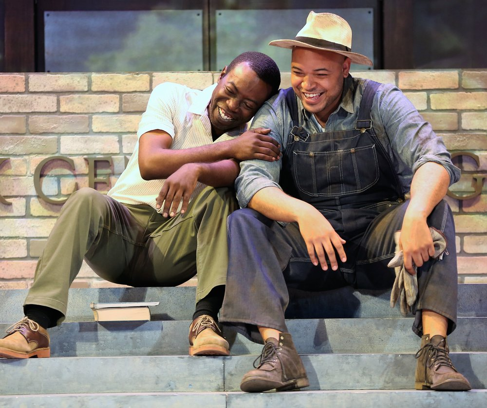 Hudson (left) with Justin Cunningham as Mr. Jones. Photographs by Carol Rosegg.