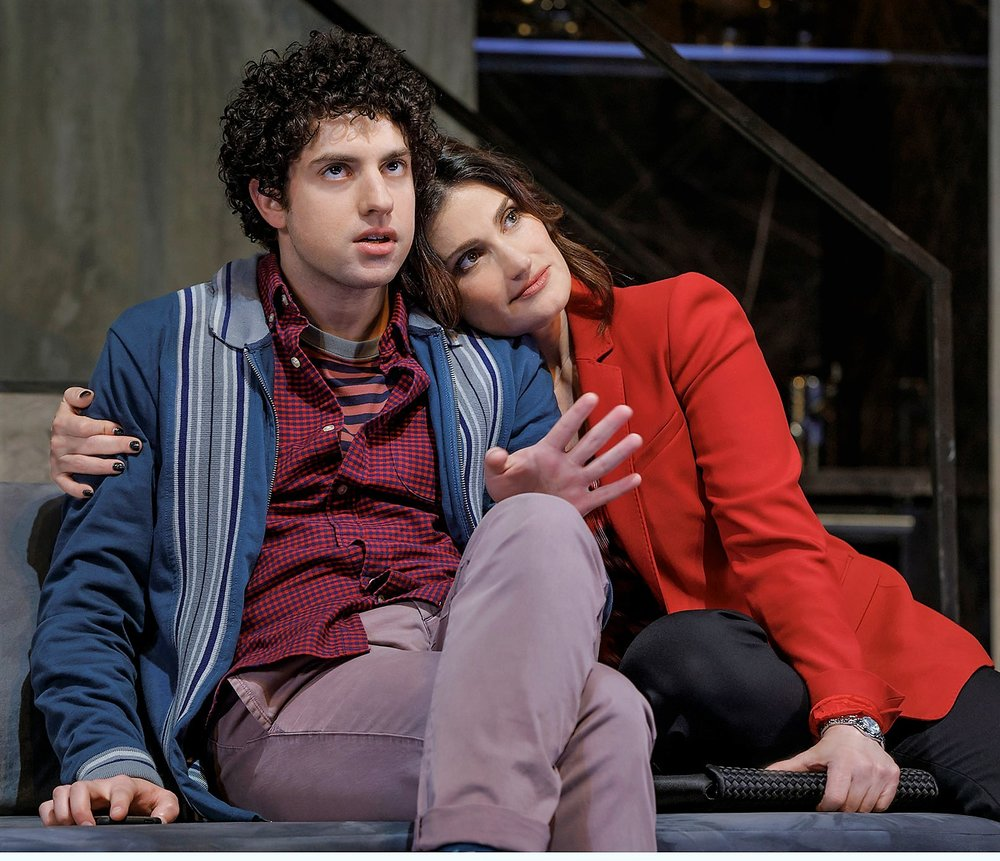 Eli Gelb (left) is Benjamin, and Idina Menzel is his mother Jodi, in Joshua Harmon's  Skintight . Top: Menzel with Jack Wetherall (left) as her father, Elliot, and Will Brittain as Trey.