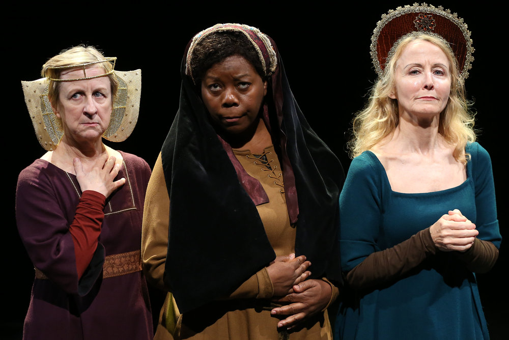 From left: Pippa Pearthree, LaTonya Borsay and Ginger Grace as medieval women in a pious reflection.