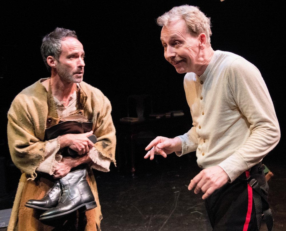 Marshall, a comforting peasant, with Jonathan Tindle as the anxious Czar Alexander in  The Possibilities . Photographs by Stan Barouh.