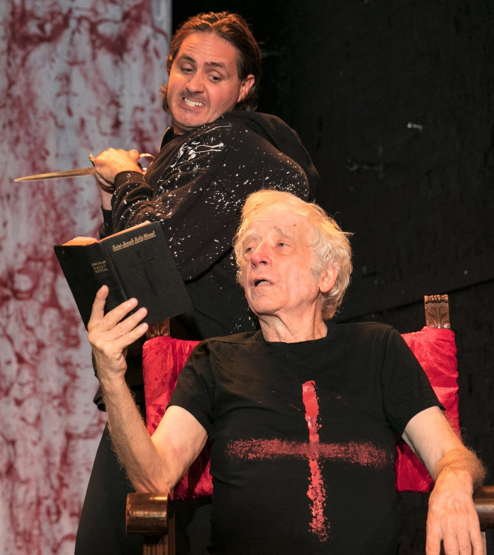 Matt de Rogatis (with dagger) as the murdering Richard and Austin Pendleton (with missal) as the ambivalent Henry are the once and future kings in  Wars of the Roses: Henry VI & Richard III.  Top:   Greg Pragel as Buckingham supplicates before de Rogatis as the villainous king. Photographs by Chris Loupos.
