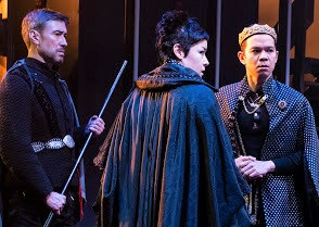 From left: John D. Haggerty as the Earl of Northumberland, Anna Ishida as the Duke of Somerset, and Jon Norman Schneider as King Henry VI.