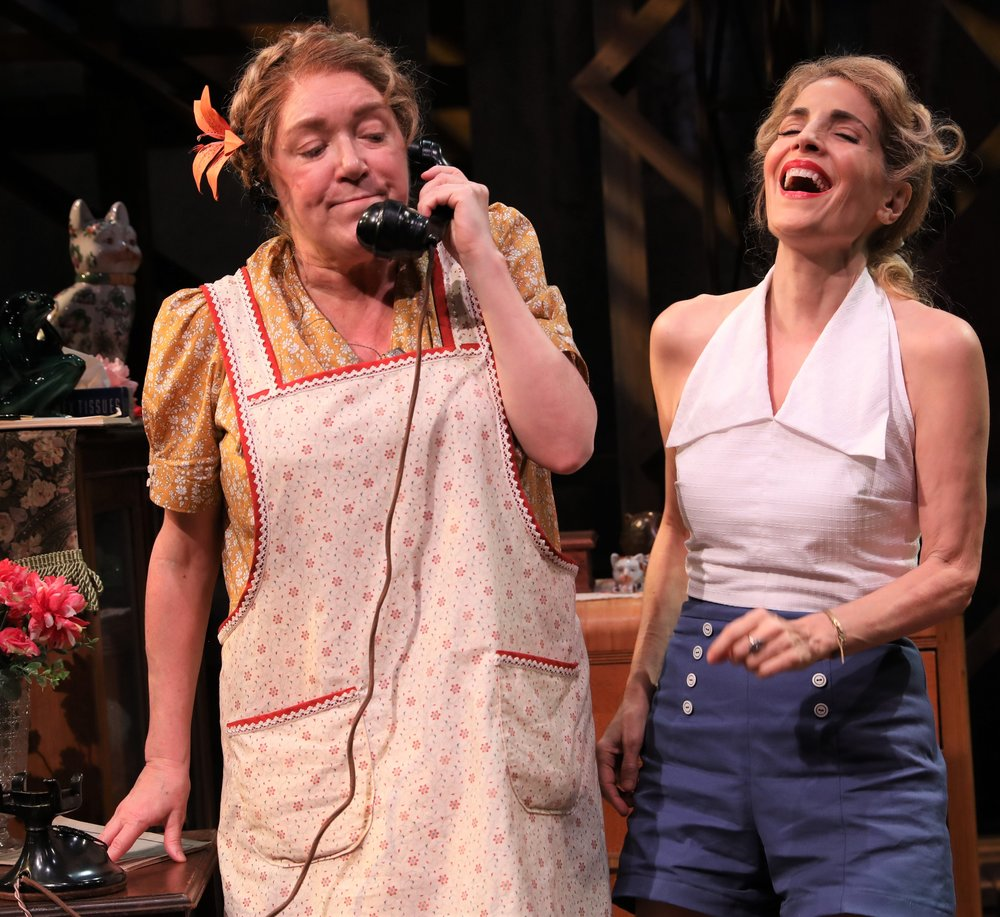 Kristine Nielsen (left) is Bodey and Jean Lichty is Dotty in Tennessee Williams's  A Lovely Sunday for Creve Coeur.  Top: Nielsen and Lichty with Annette O'Toole as Helena.