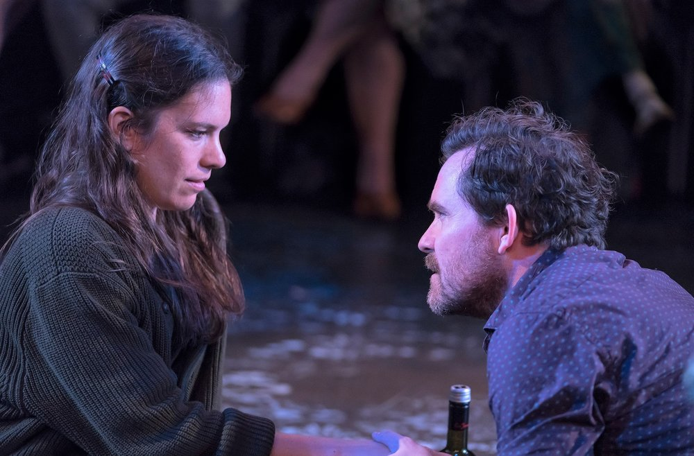 Susannah Millonzi as Sonya and Eric Tucker as Astrov in Kimberly Pau's  Uncle Romeo Vanya Juliet.  Top: Zuzanna Szadkowski as Yelena/Juliet and Edmund Lewis as Vanya/Romeo.