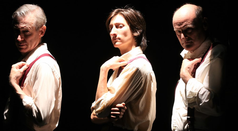 From left: Eric Rice, Matthew Van Oss and Dave Sikula play members of the ensemble in  Mother Night,  as well as individual characters. Top: Gabriel Grilli as Howard Campbell, with Trish Lindstrom as his wife, Helga. Photographs by Carol Rosegg.