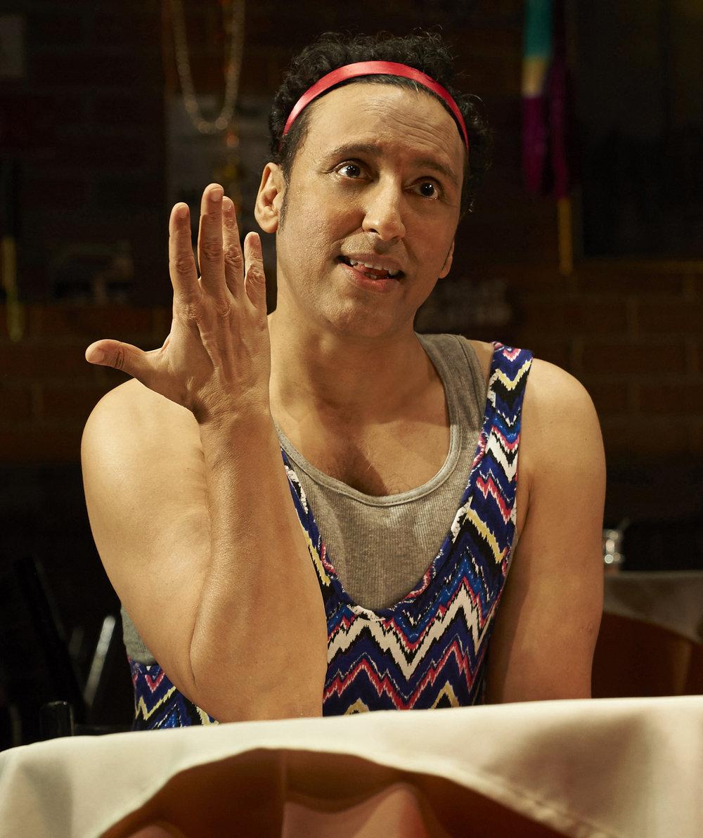 Aasif Mandvi as Sakina, a teenage girl, in  Sakina's Restaurant.  Top: Mandvi in the principal role, Azgi.