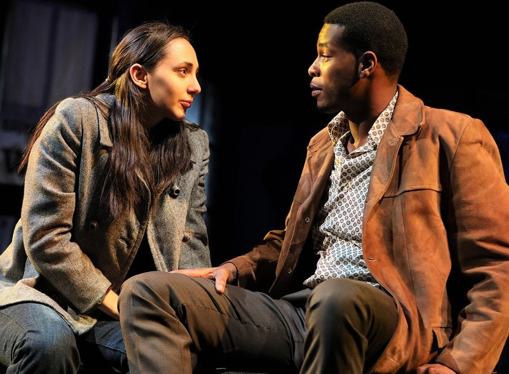 Lauren Patten (left) is Jenny and J. Alphonse Nicholson is Hal in Steve Levenson's  Days of Rage.  Top: Tavi Gevinson (left) plays outsider Peggy, and Odessa Young is Quinn. Photographs by Joan Marcus.