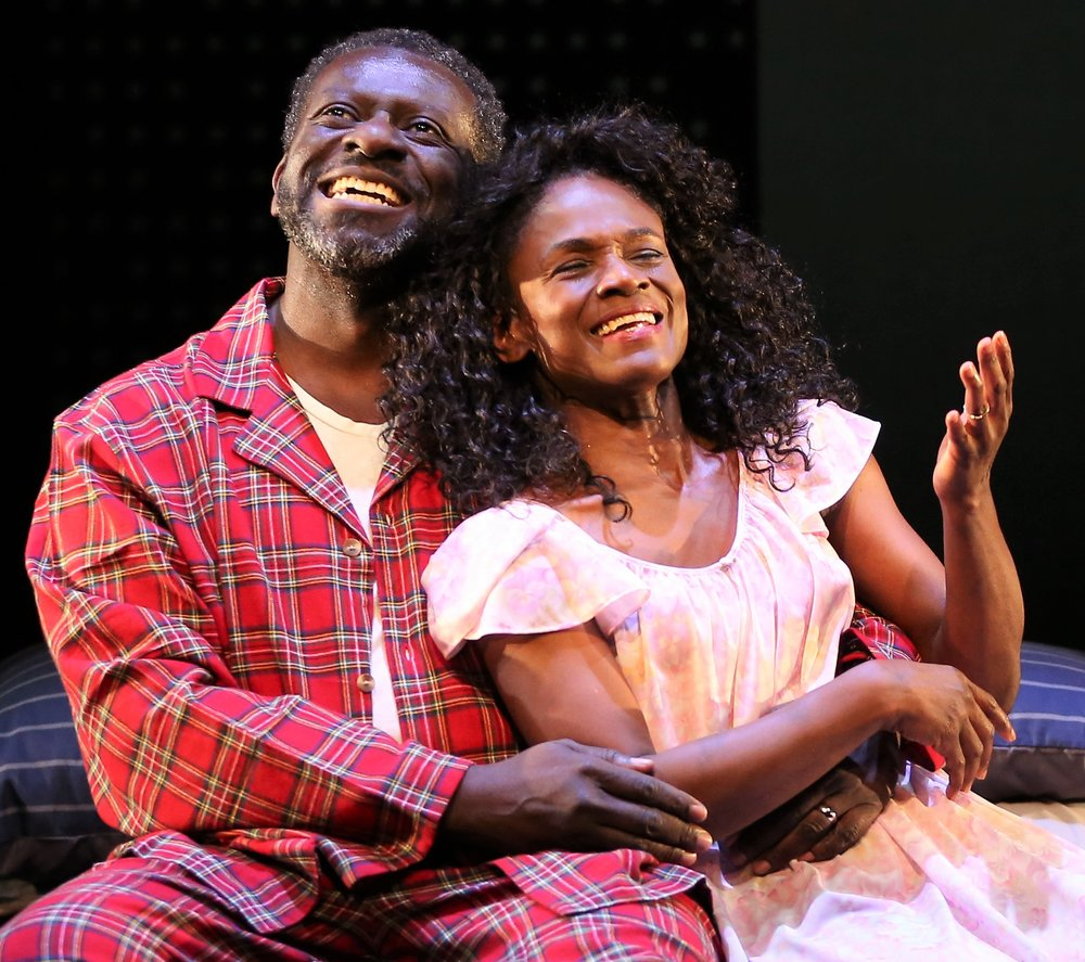 Papa (Oberon K.A. Adjepong) and NeNe (Patrice Johnson Chevannes) rekindle their romance in Hgozi Anyanwu's  Good Grief . Top: N (Anyanwu) and MJ (Ian Quinlan) as their younger selves.