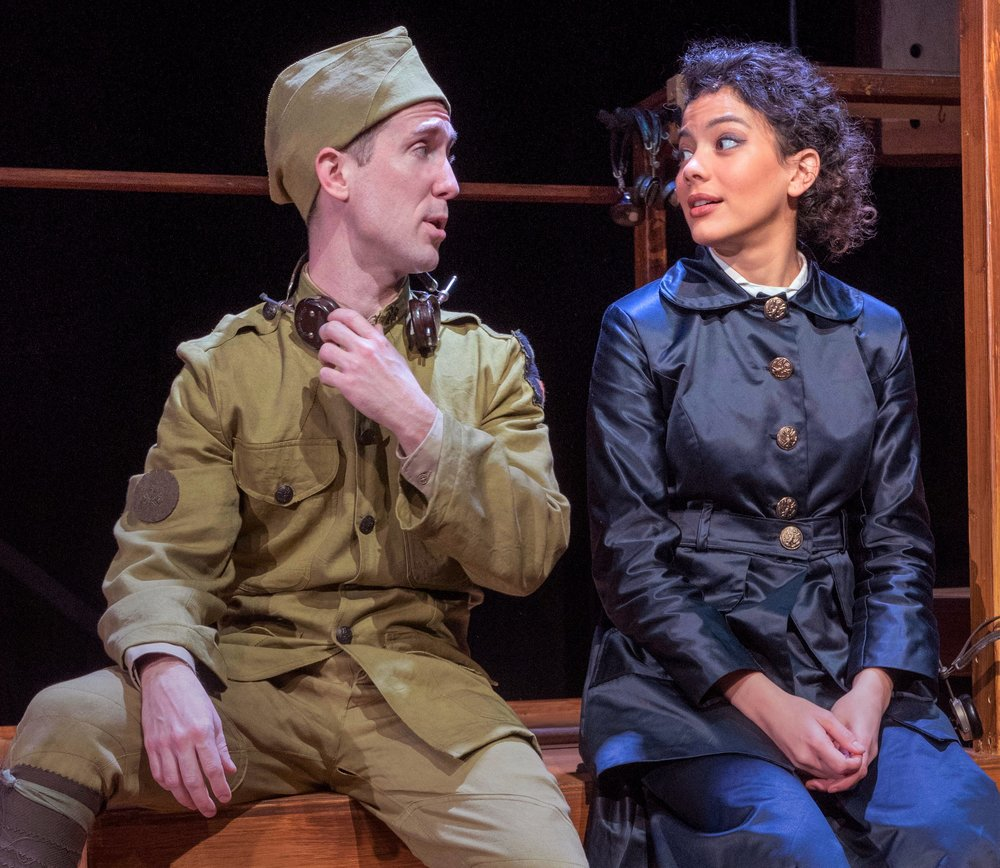 Private Matterson (Andrew Mayer) doesn't quite romance Suzanne (Skyler Volpe). Photographs by Richard Termine.