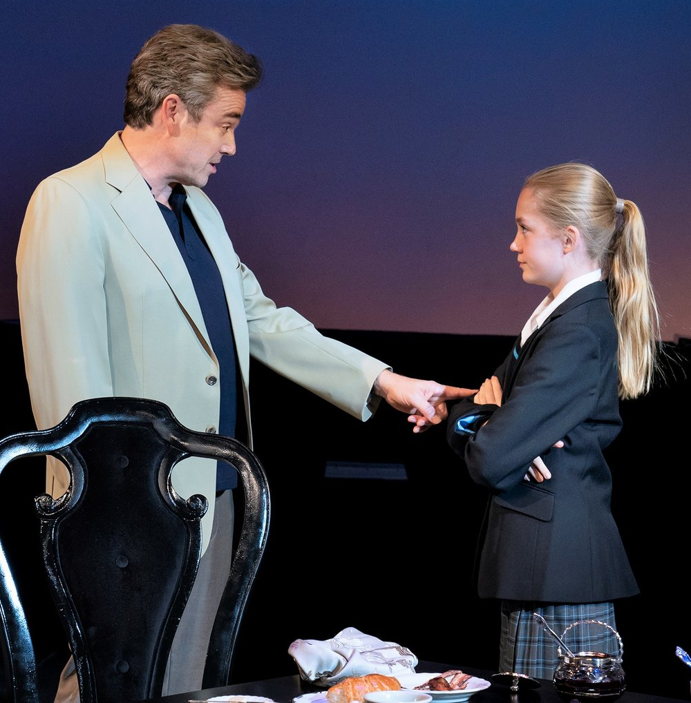 Jon Tenney plays a billionaire hedge fund manager and Katie Beth Hall is his adopted daughter in  The Hard Problem.  Photographs by Paul Kolnik.