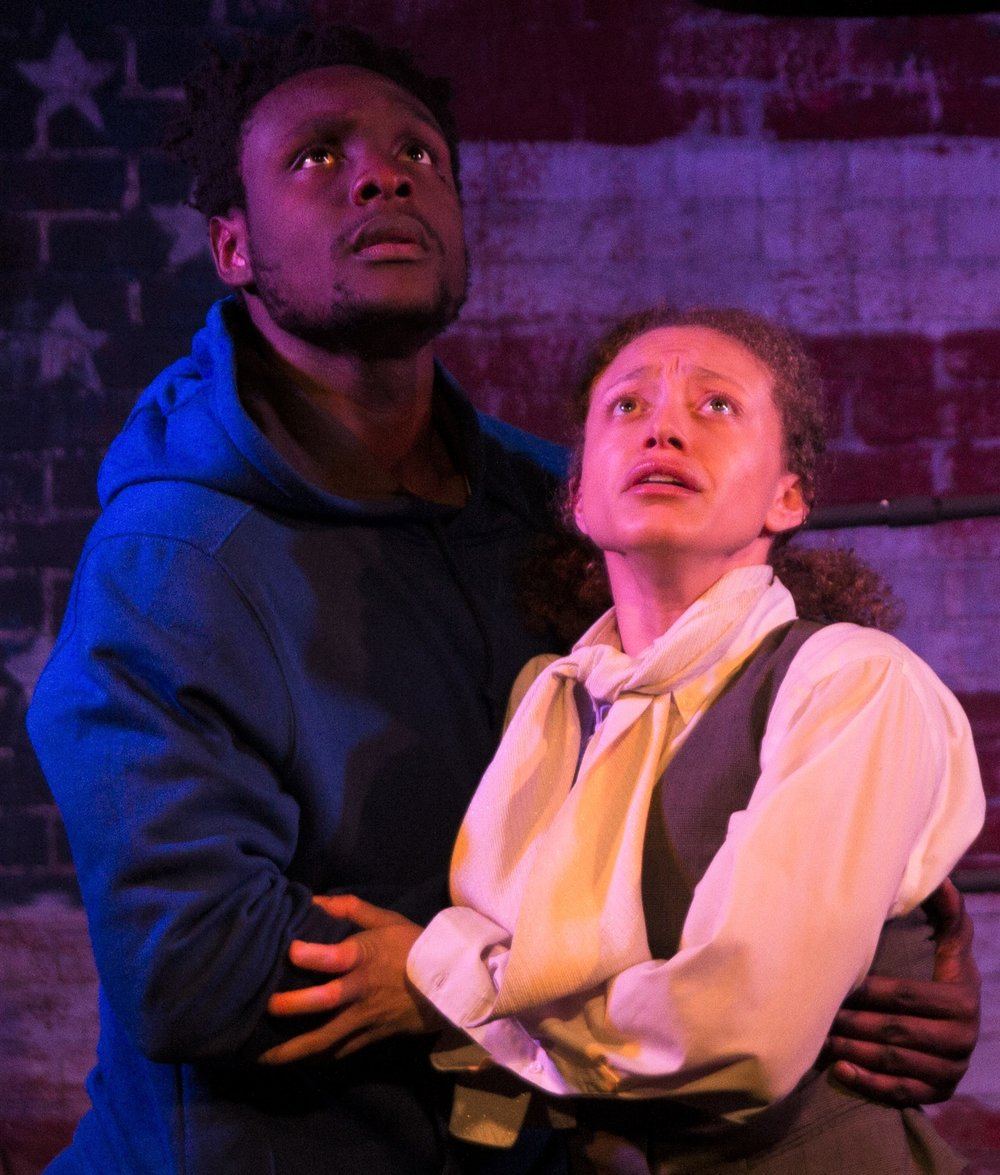 Martin K. Lewis (left) is Bill and Sydney Cole Alexander is Eleanor in Ray Yamanouchi's  The American Tradition.  Top: Lewis (rear) with Alex Herrald (left) as the slave owner Walsh, and Hunter Canning as the abolitionist Buckley.