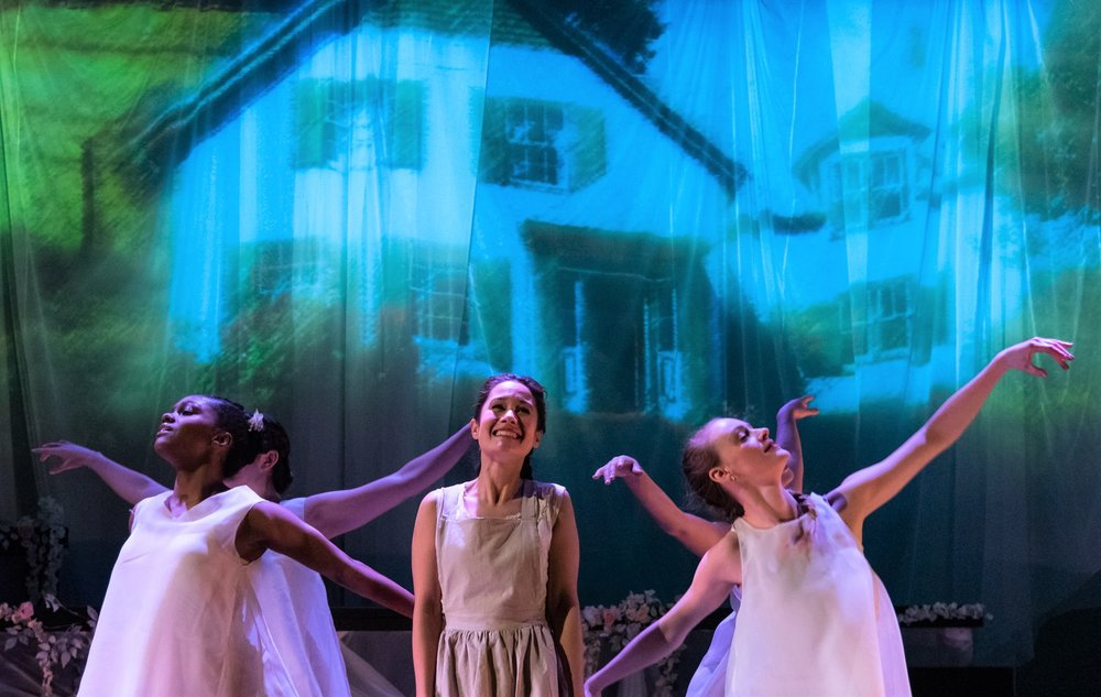 Ali Ewoldt as Anne Shirley with dancers Nichole Forde and Brooke Averi in  Anne of Green Gables: Part I.  Top: Ewoldt, Averi and Ford with dancers Kara Menendez and Stephanie Young. Photographs by Russ Rowland.