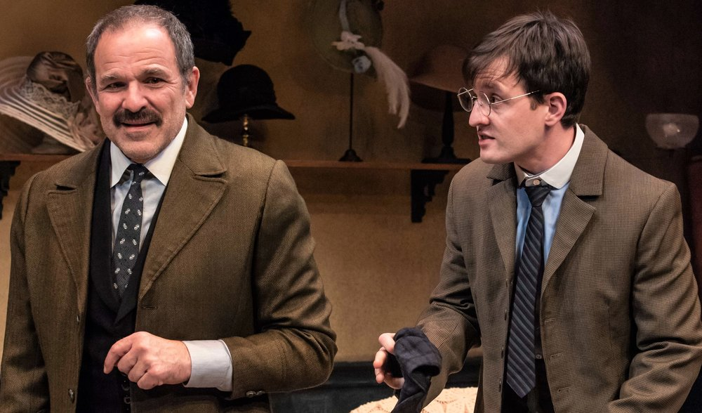 """Corren as father Thomas and Nick LaMedica as son Leonard in this initial production of """"Meet Miss Baker,"""" the Mint Theater Company's celebration of English dramatist Elizabeth Baker. Photographs by Todd Cerveris"""