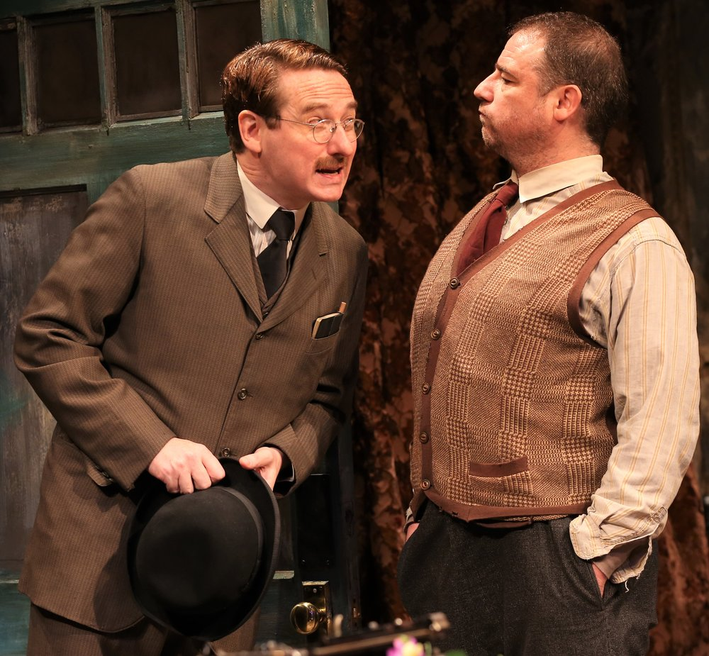 Harry Smith (left) plays the landlord Mr. Mulligan, and Michael Mellamphy is Seumas Shields. Photographs by Carol Rosegg.